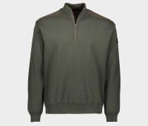 Pullover aus Wolle mit Reißverschluss und ikonischem Badge