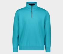 Sweatshirt aus Bio-Baumwolle mit halblangem Reißverschluss und ikonischem Badge