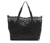 Shopper-Tasche aus Leder schwarz mit  Nieten