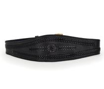 Schwarzer Ledergürtel mit Fädeldekoration