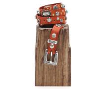 Gürtel aus Leder Terrakotta mit Schnallenverschluss und Schmucknieten