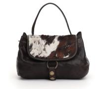 """Handtasche klein """"Brigitta"""" aus grauem Leder und Cavallino-Bajo-Leder"""