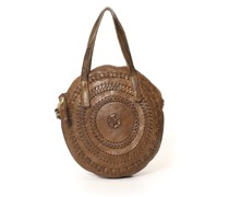 Gallipoli' Small round shopping bag in green leather