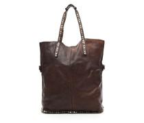 Einkaufstasche aus dunkelbraunem Leder und Nieten