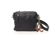 Personalisierter  umhängetäschchen klein aus Leder in Schwarz und Nieten