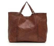 Shopper-Tasche aus Leder braun