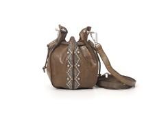 """Mini-Bucket-Bag aus Leder in Militärgrün mit Nieten aus der Linie """"Magnolia"""""""