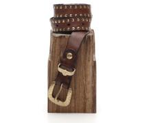 Gürtel aus Leder braun mit Nieten verziertes Profil