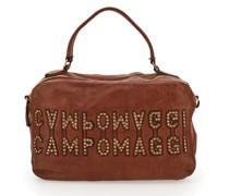 """Bowling Bag Melissa aus Leder in Cognac und """"Campomaggi""""-Logo mit Nieten"""