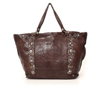 Large shopping bag in dark leather and studs 'Bella di notte'