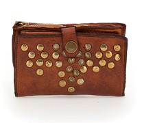 """Geldbörse """"Arya"""" aus Leder in cognac mit pyramidenförmigen Ziernieten und Nieten"""