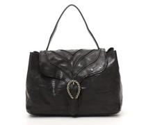"""Handtasche """"Margot"""" aus Leder in Schwarz mit baumrindenähnlichem Dekor"""
