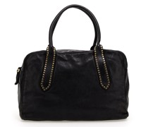 Bowling-Bag aus Leder in Schwarz mit Nieten aus der Linie Giada