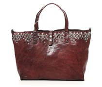 Shopper-Tasche aus Leder weinrot mit  Nieten