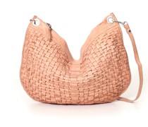 Large Shoulder Bag in Pink Whitened Leather