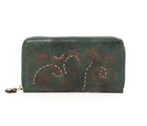 Geldbörse aus grünem Leder und Blumenfäden