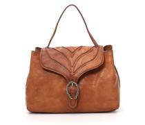 """Handtasche """"Margot"""" aus Leder in Cognac mit baumrindenähnlichem Dekor"""