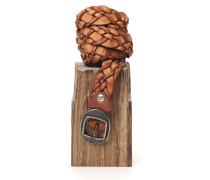 Flechtgürtel aus Leder in Cognac mit Schnallenverschluss