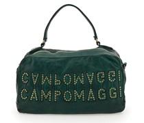 """Bowling Bag Melissa aus Leder in Flaschengrn und """"Campomaggi""""-Logo mit Nieten"""