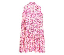 Bedrucktes Kleid Mit Bindung Am Halsausschnitt