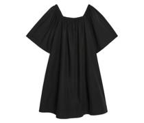 Kleid Aus Popeline Mit Eckigem Ausschnitt