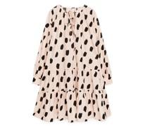 Popeline-Kleid Mit Rüschen
