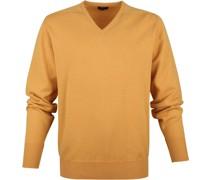 Pullover V-Ausschnitt Lammwolle Gelb