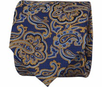 Krawatte Paisley Navy Gold