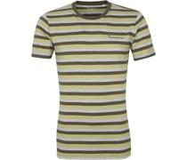 Knowledge Cotton Apparel T-shirt Alder Stripes Dunkelgrun