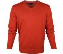 Pullover V-Halsausschnitt Orange