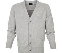 Pullover Lammwolle Cardigan Grau