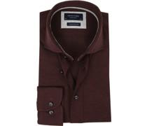 Knitted Jersey Hemd Bordeaux