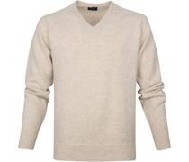 Pullover V-Ausschnitt Lammwolle Beige