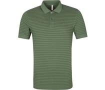 Poloshirt Cold Dye Stripes Olive Grun