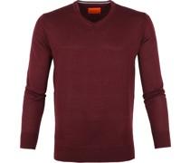 Merino Pullover V Bordeaux Rot