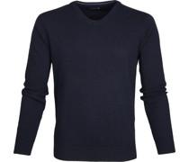 Lammwolle Pullover V-Ausschnitt Dunkelblau