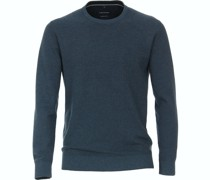 Pullover O-Halsausschnitt Melange Aqua blau