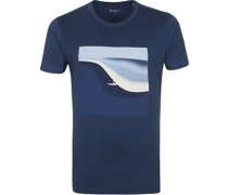 Knowledge Cotton Apparel T Shirt Alder Surf Navy