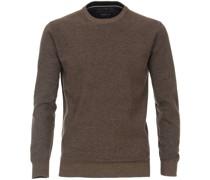 Pullover O-Halsausschnitt Melange Braun