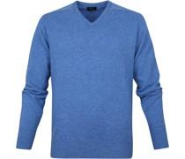 Pullover V-Ausschnitt Lammwolle Hellblau