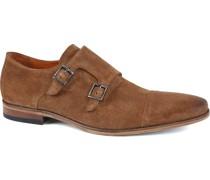 Schuh Doppelschnallenschuh Cognac