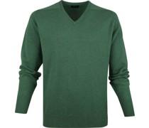 Pullover V-Ausschnitt Lammwolle Grün