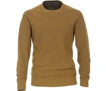 Pullover O-Halsausschnitt Melange Gelb