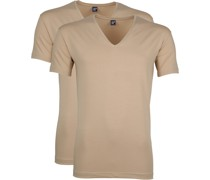 Stretch V-Neck T-Shirt Beige 2er-Pack
