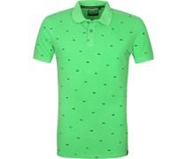 Poloshirt Grün Print