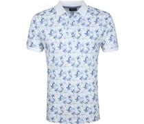 Short Sleeve Poloshirt Blumen Blau