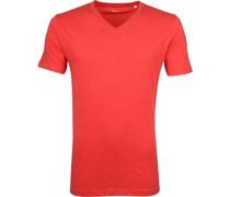 Knowledge Cotton Apparel V-Ausschnitt Rot