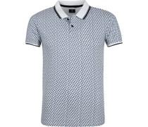 Poloshirt Weiß Muster