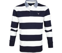 Polo Poloshirt Rugger Blau Weiß Streifen