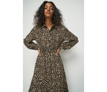 Belted Shirt Midi Dress Leopard Print